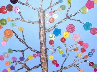 Button Tree, Linda McDonald (mixed media)