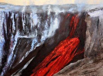 EyjafjallajökullVolcano-MauriceOrr-Oil-FishLeather-on-linen-5x7feet.jpeg