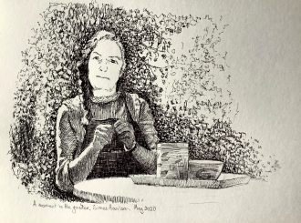 Moment in the Garden by Simon Harrison (Pen and ink on paper)